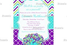 Pretty as a Peacock Green and Purple Baby Shower / This collection features a cute green, purple and blue peacock on a background consisting of purple quatrefoil, blue polka dots and green, purple and blue chevrons.