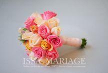 Buchet mireasa din trandafiri potocalii si roz / buchet din trandafiri potocalii si roz