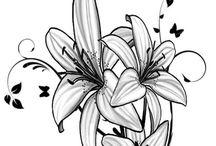 Цветы эскизы