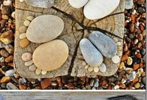 Foot Prints with pebbles