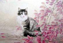 """Художник Хин Ченг.(Xing Cheng.(邢诚)) / Кошки в стиле""""гохуа"""""""