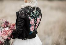Brides wearing leather jackets / Brides wearing leather or denim jackets with their wedding dress