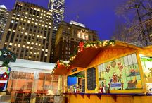 Impressions Christmas Village in Philadelphia 2013 / Christmas Village in Philadelphia is an outside Holiday market event in downtown Philadelphia - at Love Park - on the west side of City Hall, which is modeled after the traditional Christmas Markets in Germany.  From Thanksgiving through the last Sunday in December, vendors in more than 60 wooden booths will sell traditional European food, sweets and drinks. They will also offer a great shopping experience with international holiday gifts, ornaments, jewelry and high-quality arts and crafts.