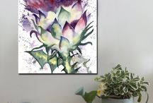 Scottish Thistles / Canvas art prints, A1 and A2.  www.splashyartystory.com