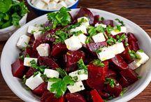 Salade betteraves et feta. Vinaigrette au citron