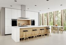 white and timber kitchens