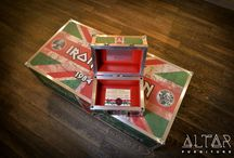 Maiden's Gift / It's been thirty years since Iron Maiden first played in Hungary! To commemorate this, and to launch our new rock inspired BACKSTAGE LIVING line, we produced a custom made, one of a kind coffee table for the band's dressing room.  To accompany this we designed and crafted a gift box, that contained a thank you note, and an original piece of the Iron Curtain (a piece of barbed wire in this case), that closed off Hungary from the West until 1989.