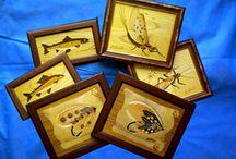 arte nella pesca - art in fly fishing /    intarsi con legni pregiati sulla pesca a mosca inlaid with fine woods on fly fishing