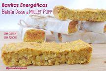 Barritas Energéticas de Batata Doce e Millet Puff / Mais uma ideia para umas barritas caseiras, económicas, saudáveis, energizantes e deliciosas! Vegan, Sem glúten, sem açúcar, sem gordura adicionada.