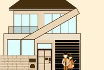 Home/House Vector Flat Design / #Home illustrations #House #illustrations #Design #Illustrations #vector #illustrations #flat #decorations #Eco #house #living #family #illustrations