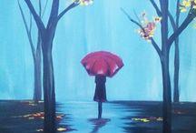 Acrylic painting rainy days / Acrylic paintings of rain.