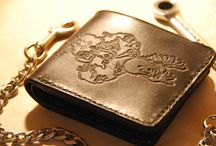 Leather wallet with chain ,Ogri, grey black leather,Handtooled