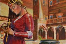 Medieval oil painting / My oil paintings symbolically show queen Polish Jadwiga (1373-1399)