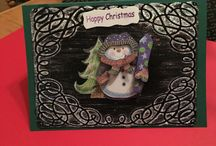 Embossed Christmas Cards handmade by Sharon Lee