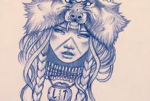 Pencil, Felt pen, Needlepunch Drawings