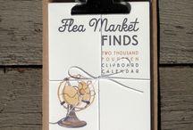 2014 Flea Market Finds Calendar / Watercolor Clipboard Calendar  A year of antique wares and vintage sundries