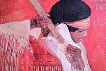 LORI ART Porträt / Jimi Hendrix Ölfarbe auf Leinwand