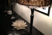 Lampshades / Black and feather lampshades