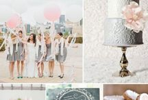Chateau pink grey wedding