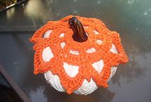 Pumpkin Toppers / Fall decoration time---that means pumpkins of all shapes, sizes, and color.  Whatever your favorite may be, why not add a personal touch of whimsy---a crocheted pumpkin topper.  The possibilities are endless with vibrant or subdued colored yarn and decorative add ons.  These originally designed patterns are just what you need to begin your Fall, Thanksgiving, and Halloween projects.