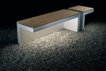 benches / angular stepping stones with box, by Peter Berg