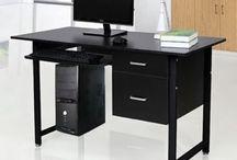Modern Desk Computer Office PC Furniture Study Work Storage Unit 2 Drawers Black