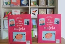 Mi hermana es una mofeta • My Sister Is a Skunk / Berta Piñán / Francesca Assirelli ISBN: 978-84-92964-29-1 No one told me before, no one told me  anything, but from the beginning, from  when she was born and I saw her, I  knew that my sister was a skunk! //// Nadie me avisó antes, nadie me dijo nada, pero desde el principio, desde que nació y yo la vi, supe que mi hermana era una mofeta. / by Pintar-Pintar Editorial