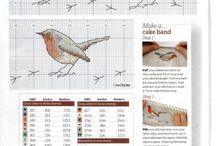 Cross stitch robins