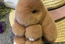 bunny fur keychein