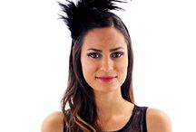 Headband - black with feather