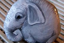 Elephant-painted rock