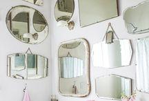 vintage mirrors on wall