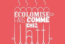 """Campagne Fais Comme Chez Watt / La campagne """"Fais Comme Chez Watt"""" est destinée à sensibiliser nos élèves-ingénieurs sur les économies d'énergie. Elle se compose d'un jeu de 4 cartes postales, contenant des infos et des conseils sur les consommations d'électricité, d'eau, de chauffage et sur la gestion des déchets à l'INSA Lyon."""
