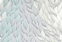 C A S C A D E / Cascade, a stone waterjet mosaic, shown in Tropical White, Infinity, Island Fog glass, and polished Snow White stone, is part of the Altimetry Collection for New Ravenna. www.newravenna.com.  / by New Ravenna