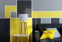mur jaune et gris