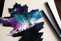 dessin sur feuilles d'arbres