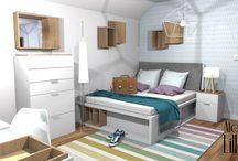 Biały pokój młodzieżowy. Projekt wnętrza. / http://www.lillet.pl/