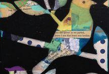 Mad with Rapture Studio Art / Mixed media collage, decorative art, bird art