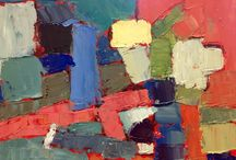 Richard Deibenkorn, Nicholas de Stael inspired work / These paintings were completed at a workshop I did with Salliann Putman inspired by Richard Diebenkorn and Nicholas de Stael