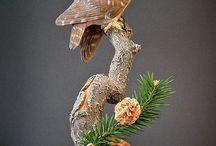 Djur i Trä / Fåglar utskurna i trä