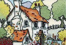 домики вышивка