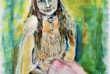 My own art ~ drawing, acrylic, mixed media, oil / I picked up a paintbrush and pencil 4 years ago.  Enamored ever since.