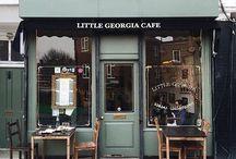 Cool design of cafés and shops