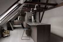 Store Kongensgade / A kitchen balanced between dark and light – set up in a rooftop loft overlooking The Marble Church dome.