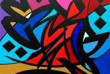 """ODN / ODN a un style propre, fait de formes cernées fortement par une ligne épaisse et traitées en aplats de couleurs pures et sans ombres. Ses œuvres se singularisent par la saturation des surfaces colorées où ne subsiste aucune trace de doute ou d'inachèvement. Il est à l'origine du mouvement """"TAGARTISTIK"""" dans lequel il revendique l'esthétisme du tag."""