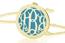Color Monograms / Colorful monogram necklaces - with background color, acrylic and more