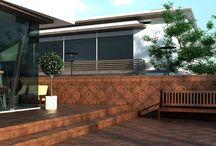 Cerámica para exteriores y patios / Patios, jardines, entradas, piscinas, escaleras... El material cerámico de Gresmanc es idóneo para espacios de exterior por su alta resistencia y durabilidad.