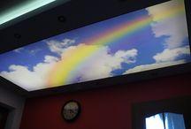 Oświetlenie Pokoju dziecka / Przedstawiam pomysł na dekorację w pokoju dziecka z wykorzystanie sufitu napinanego e-technologia z nadrukiem tęczy oraz podświetlonego taśmami LED.