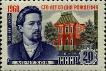 Anton Chekhov: what a dapper bastard / Smart, talented, good looking and famous. What a fascinating time to live in Russia--Soviet Union, 1860 to 1904. Chekhov paid for his schooling by catching & selling goldfinches, tutoring, and selling short story sketches to the newspaper. Images here feature the 1960 stamp collection in his honor. What a stylish, influential gentleman he was!