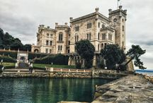 Miramare Castle Trieste Italy / Couple travelling the world Miramare Castle Trieste Italy